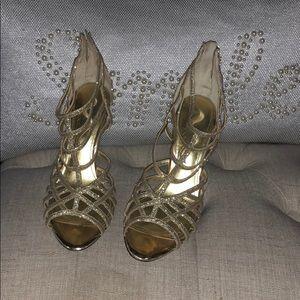 Gorgeous Nina Gold Sparkle Grecian Heels 8.5M